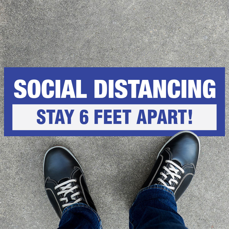 6 Feet Apart: Stay Safe 6 Feet Apart Rectangle Floor Decals