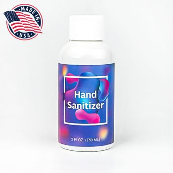 Discount Hand Sanitizers Customized Printed - 2 Oz Made In USA Hand Sanitizers With Full Color Custom Label