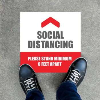 Social Distancing Stay Safe Square Floor Decals
