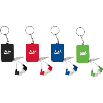 Spectra Earbuds & Mobile Phone Stand Key Chain