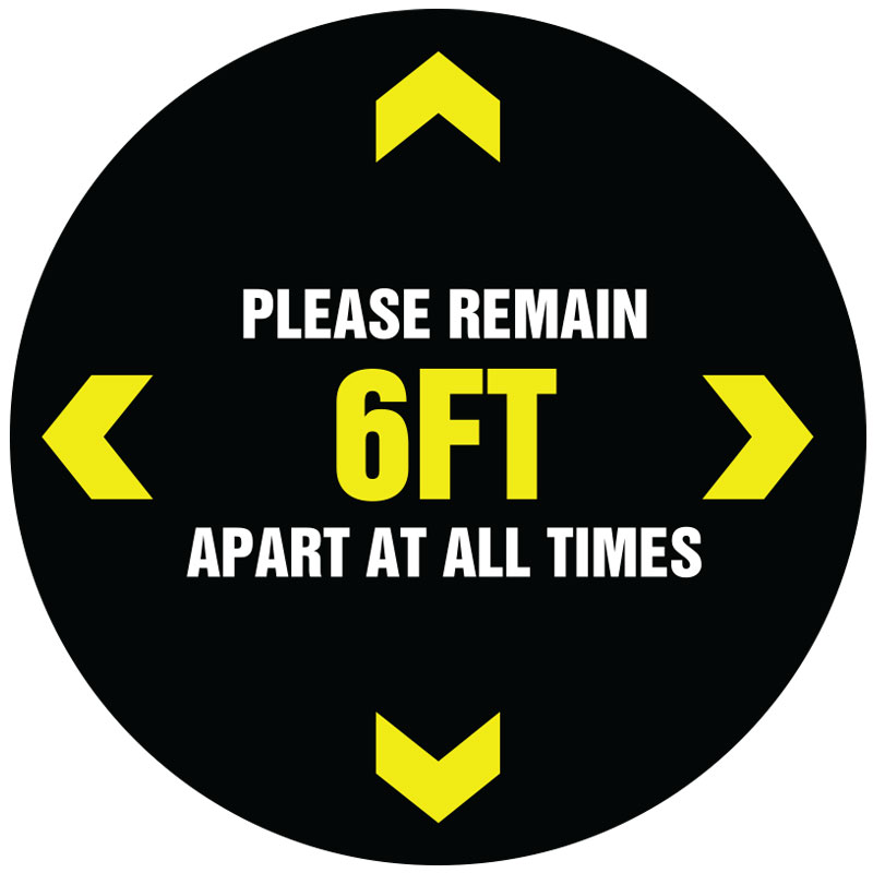 6ft At All Times Round Social Distancing Stickers